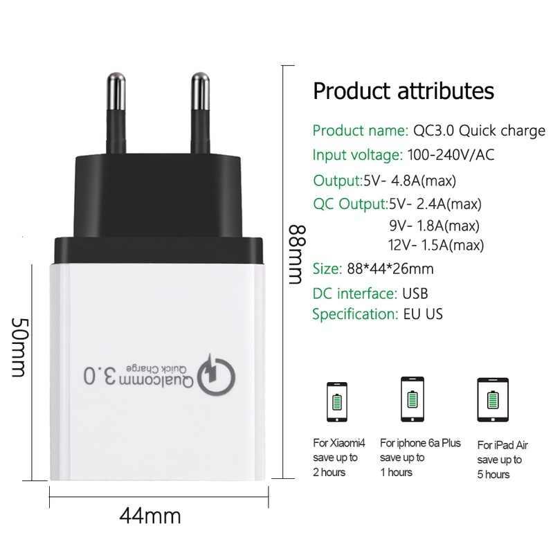 3 puertos 18 W carga rápida USB 3,0 5 V 3A para Iphone 7 X XS XR teléfono móvil cargador rápido de carga para Samsug S10 Huawei P20 LITE