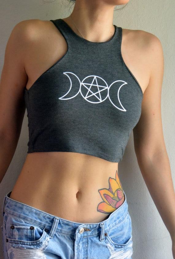 Top Women Camisole Female Summer Short Tee Moon Pentagram Print Sexy Fashion Slim Tanks