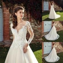 Long Sleeve Deep V Neck Wedding Dresses 2020 Sexy Vestido de noiva Vintage Top Lace Tulle Beach Bridal Dresses Sweep Train