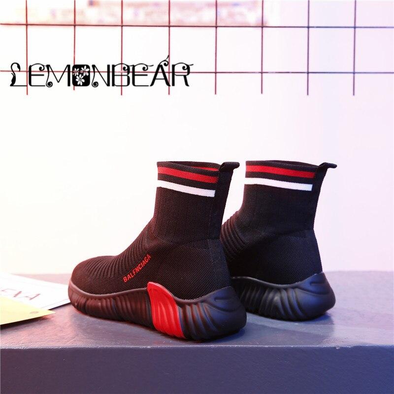 Nouveau femmes Vulcanize chaussures épaisses haute plate-forme chaussettes chaussures femmes SneakersKnit respirant chaussures blanc noir antidérapant haut