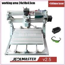 Control de CNC 2418 + 500 mw láser GRBL Diy CNC machine, área de trabajo 24x18x4.5 cm, pcb 3 Ejes fresadora pvc, Madera del Grabador Del Ranurador