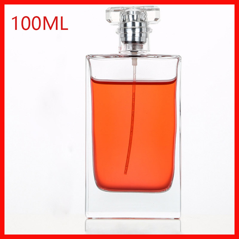 <font><b>100ml</b></font> Top grade transparent perfume <font><b>bottle</b></font> flat square <font><b>spray</b></font> glass empty Refillable <font><b>Bottle</b></font> Parfum Cosmetic Vial 100Pieces/<font><b>Lot</b></font> image