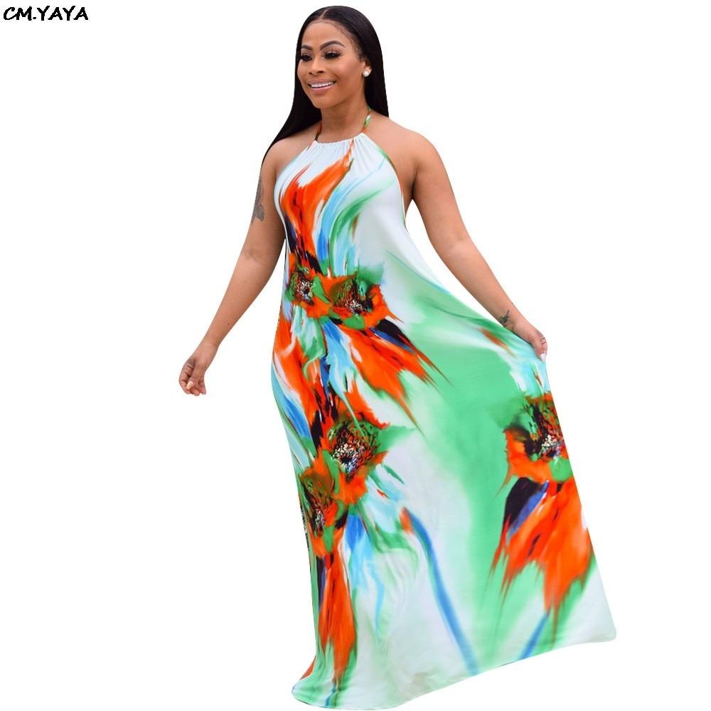 74aa5241f496c 2019 new women Gradient print halter neck sleeveless open back pleated  loose maxi dress beach bohemian long dresses 2 color 1058