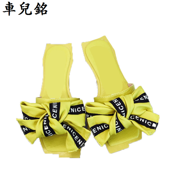 c2583039290aa summer shoes for woman bow flat slippers fashion butterfly knot leather  sandals letter casual shoes rihanna slides yellow pink