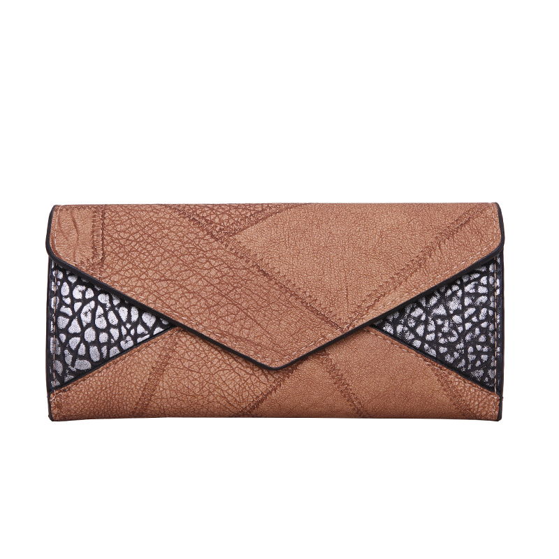 Trifold Leather Clutch Purse