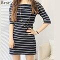 Free shipping ! Hot 2017 new brand women ! Big yards long section of high-quality striped T-shirt dress / S / M / L / XL/XXL