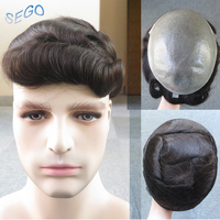 SEGO 8''*10'' 6 Inch Durable Silicon Natural Hair Men Toupee Non remy Hair System Indian Hair Replacement System Density 100%