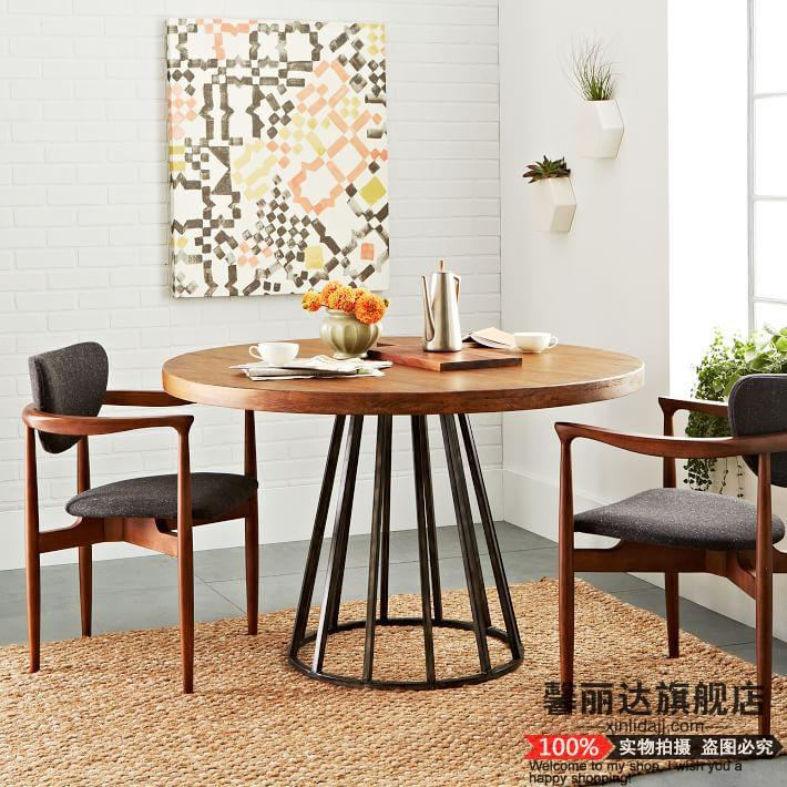Small Wood Table And Chairs: Xin Lida American Retro Small Round Wood Tables, Wrought