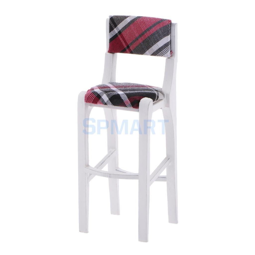 Dollhouse Miniature Furniture font b White b font Wooden Bar Stool Breakfast Kitchen Pub High font