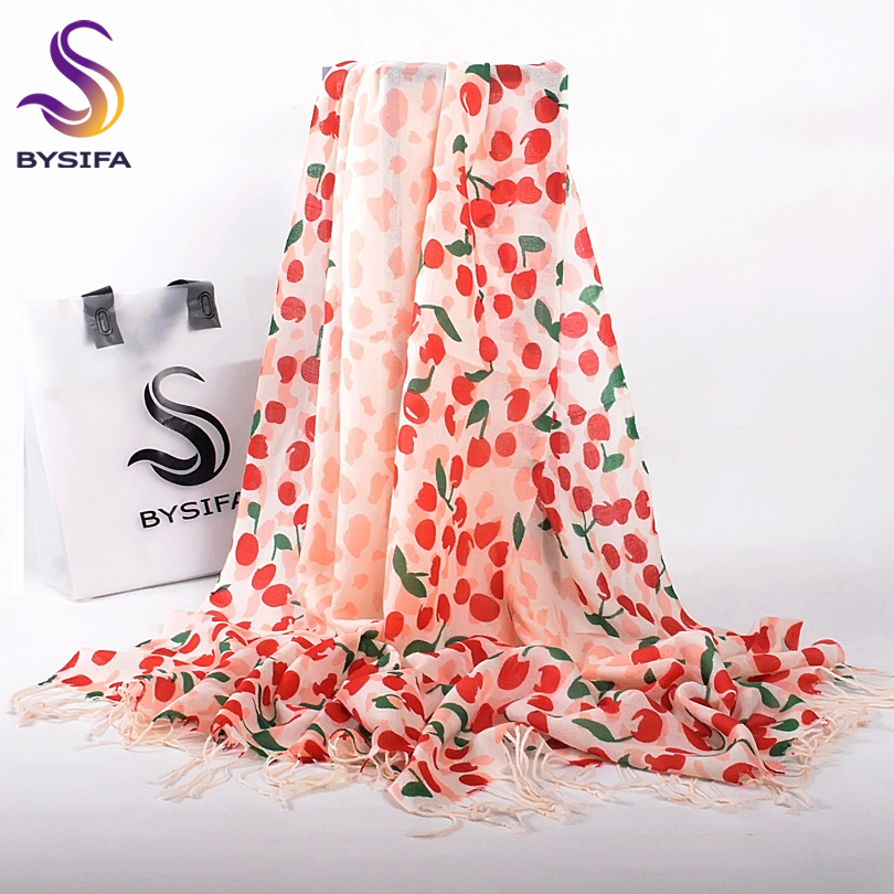 [BYSIFA] Winter 100% Wool Scarves Pashmina Fashion Red Cherry Design Women Tassel Long Scarves Winter Autumn Beige Scarf Shawl