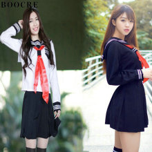 BOOCRE Japanese/Korean Anime Hell Girl Cosplay Costume School Uniforms Cute Girl Sailor Suit  JK Student TOP +Dress+Tie Clothing