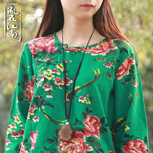 Spring chinese style retro slanting lapel frog cotton linen three quarter sleeve blouses literary top shirt