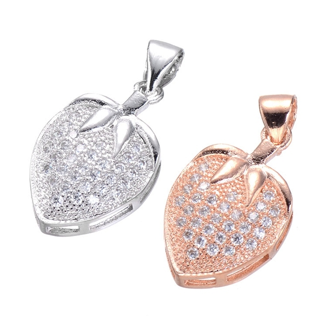 Supplies for jewelry wholesale 5pcs promotion silver rose gold supplies for jewelry wholesale 5pcs promotion silver rose gold inlaid zircon crystal strawberry charms necklace pendants aloadofball Gallery