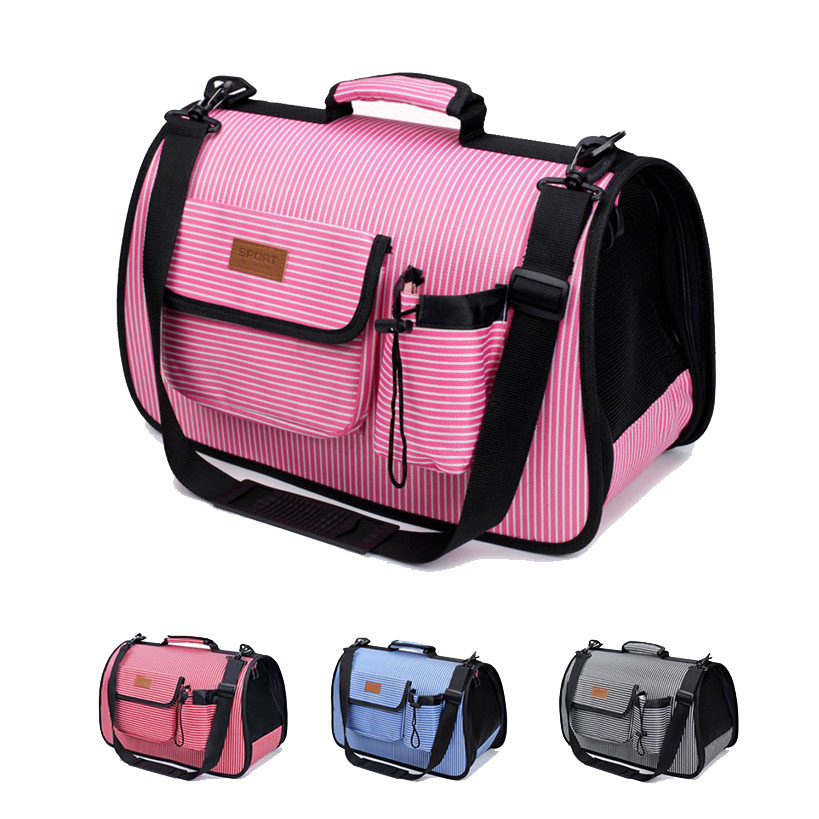 Soft Sided Pet Carrier Airline Approved Under Seat Travel Portable Pet Carrier Fashion Striped Pet Bag for Small Dogs Cats