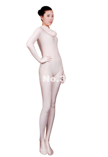 High Quality White Lycra Spandex Zentai Catsuit Halloween Cosplay Costume