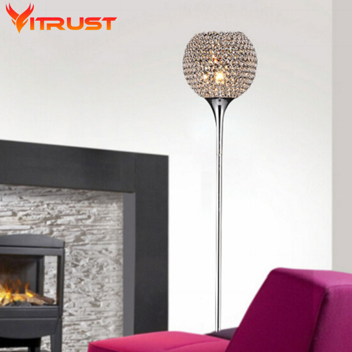 Beautiful Crystal Floor Lamps Bedroom Table Floor Lights Bright V Standing Lamp E27 Tripod Lamp