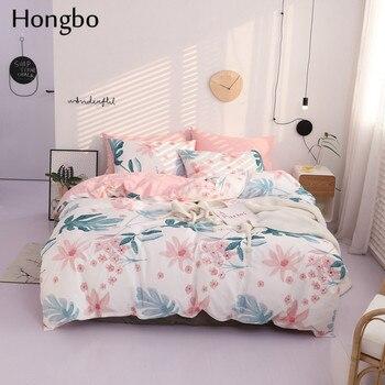 d23bce834fc Hongbo verde flor hojas patrón ropa de cama de algodón conjuntos de niños funda  nórdica funda de edredón de cama ropa de cama