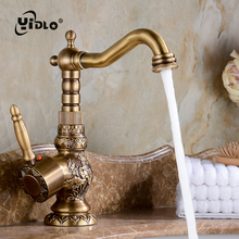 Antique Basin Faucet Brass Bathroom Mixer Water Tap Carved flower Classic Basin Faucets Swivel Vintage  Diamond Copper Faucet B4 стоимость