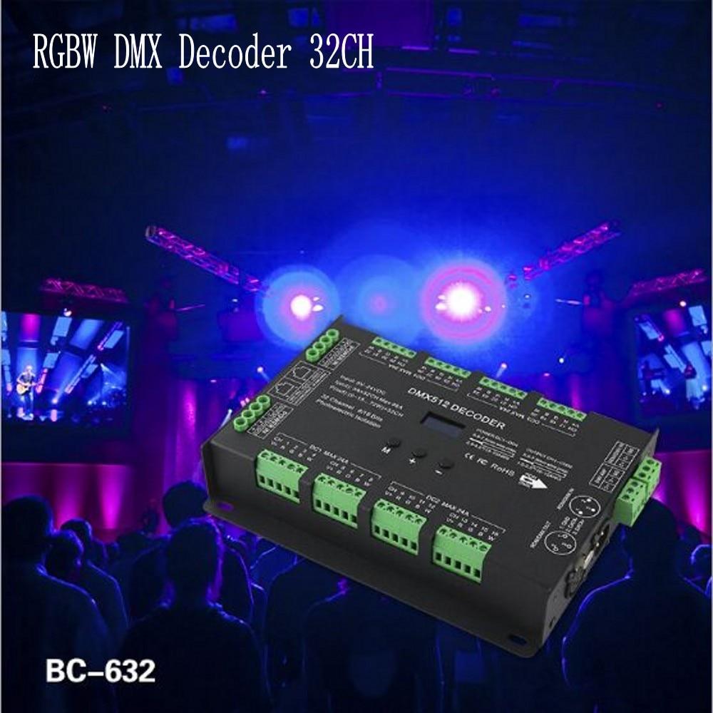 32CH Constant Voltage DIM/CT/RGB RGBW DMX Decoder DC5 24V 3A*32CH 8ports x 4CH output BC 632 For RGB/RGBW Led Strip Lights