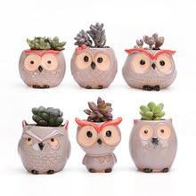 6pcs/set Mini Ceramic Cute Owl Flower Pot Bonsai Small Pots for Flowers Succulent Planter Garden Balcony Decoration FlowerPot