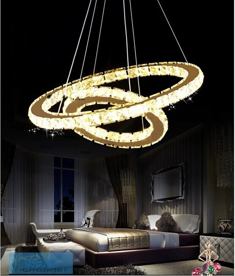 Europe Diamond 4 Ring Led K9 Crystal Luxury Lamp Chandelier Light Circles Crtstal Lamp Upscale Atmosphere Free Delivery Ceiling Lights & Fans Chandeliers