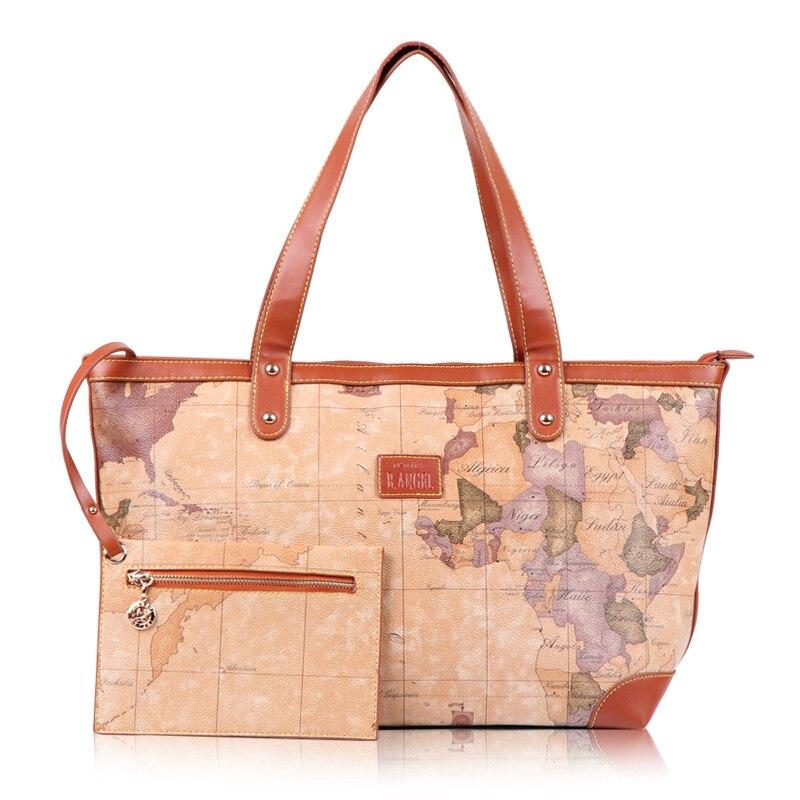 2016 vintage world map women's handbag large capacity handbags new designer lady's shoulder bags #553 - SW Leather Factory store