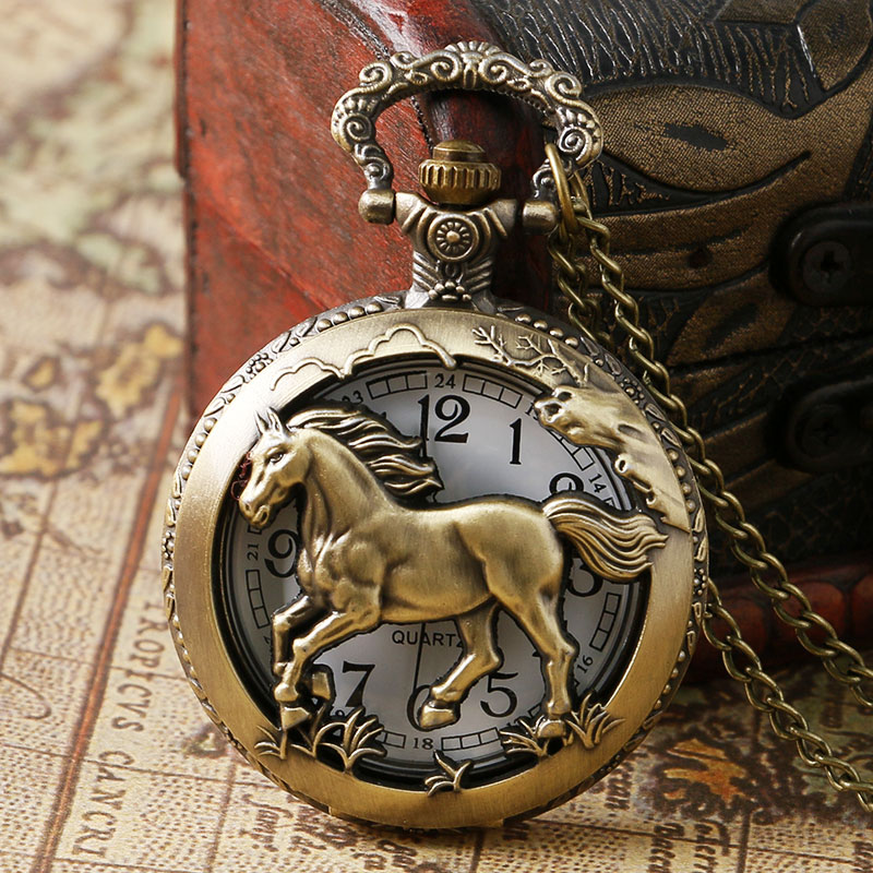 Retro Bronze Hollow Horse Case Design Quartz Pocket Watch With Necklace Chain Pendant Jewelry Gift For Birtday Christmas antique retro bronze car truck pattern quartz pocket watch necklace pendant gift with chain for men and women gift