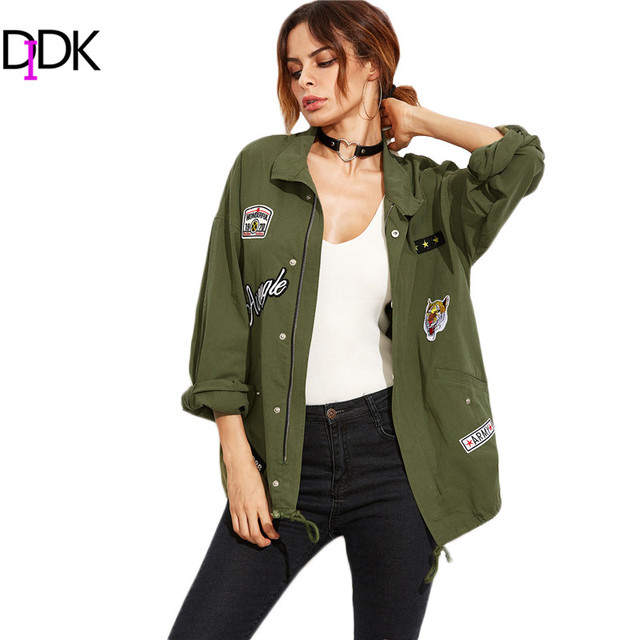 DIDK Women Coats and Jackets Women Fall Jackets 2016 Olive Green Drop Shoulder Utility Jacket With Patch Detail