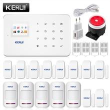Kerui беспроводная gsm сигнализация домашней безопасности системы ios/android app дистанционного управления alarmas касас с беспроводной дверные датчики детектора