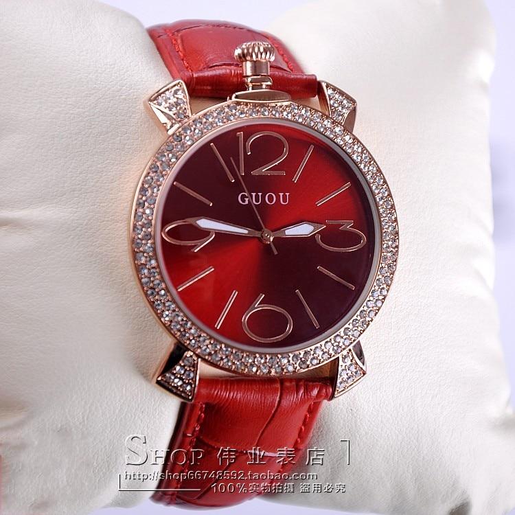 GUOU fioletowe różowe złoto kobiety luksusowa marka pełna - Zegarki damskie - Zdjęcie 5