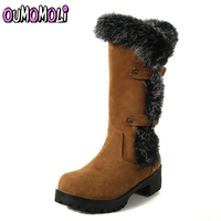 Fashion Plush Snow Boots Women Square heel high Slip resistant Boots Rabbit hair Thermal Female Cotton padded Shoes Warm Winter