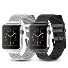 Classic Pin Buckle Milanese Apple Watch Band 38/40mm 42/44mm Stainless Steel Woven Mesh Belt Silver Black Available