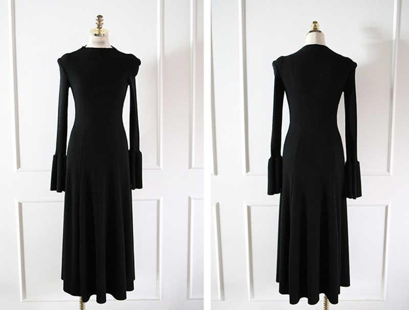 Длинное трикотажное хлопковое плиссированное платье трапециевидной формы с большим Расклешенным рукавом и тонкой талией, женское вязаное теплое модное однотонное платье vestidos femme