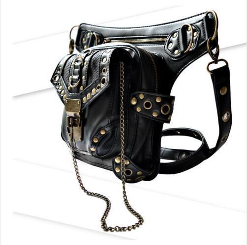 Черная кожаная набедренная сумка унисекс