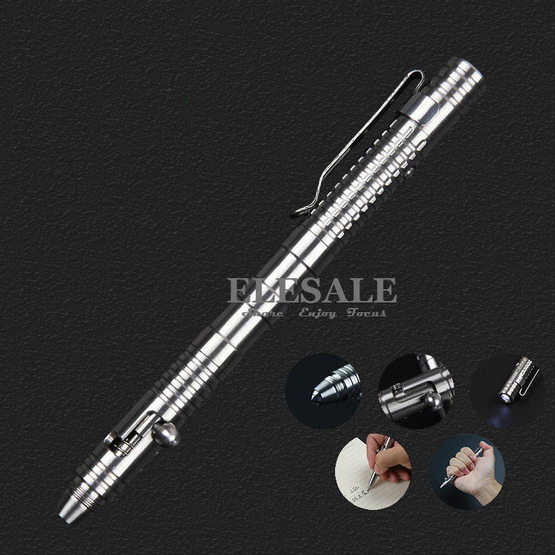 New Stainless Steel Tactical Pen With Led Light For Self Defense Emergency Glass Breaker EDC Tool Ball Point Pen Gift Box