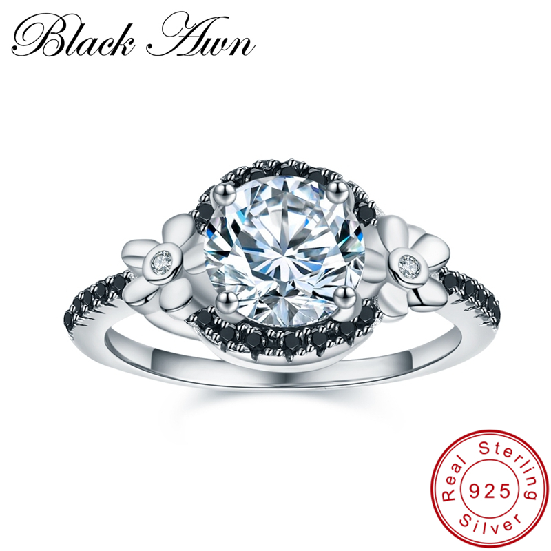 [BLACK AWN] Flower 925 Sterling Silver Jewelry Black Spinel Wedding Rings For Women Engagement Ring Round Femme Bague C006