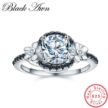 BLACK AWN Flower 925 Sterling Silver Jewelry Black Spinel Wedding Rings for Women Engagement Ring Round Femme Bague C006