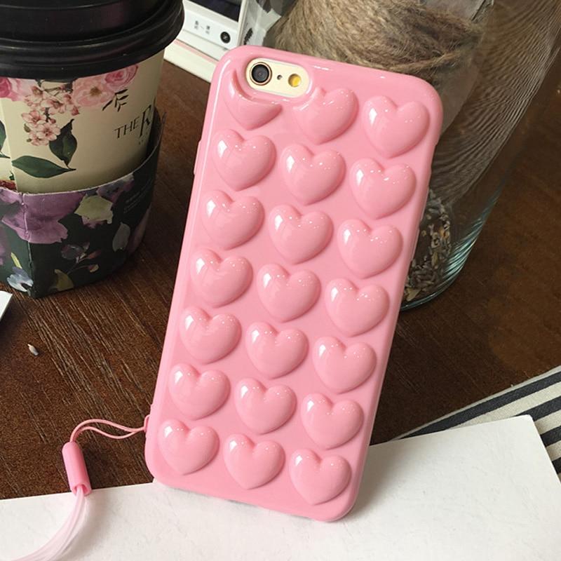 JAMULAR Permen Warna Pink Jantung Jelly Lembut Telepon Kasus Silikon - Aksesori dan suku cadang ponsel - Foto 2
