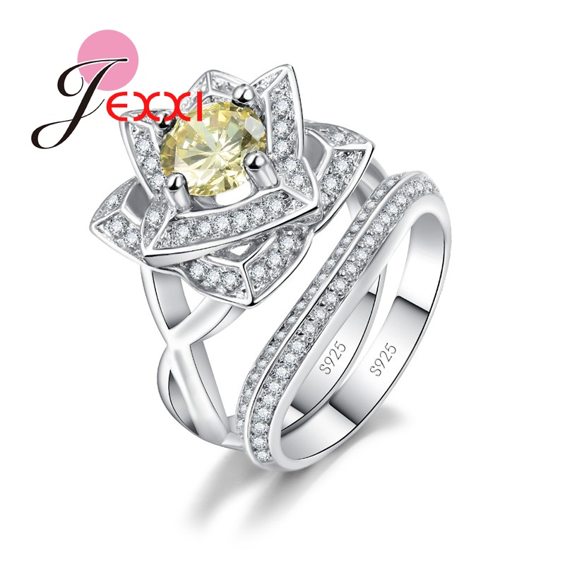 JEXXI Lotus Flower 925 Sterling Silver Couple Rings Set Women Retro Style Wedding Engagement Jewelry Green Yellow Crystal