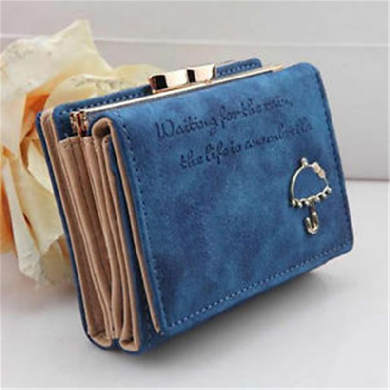 2017 New Fashion Short Faux Leather women wallets Small Umbrella Wallet Button Clutch Purse Bag Free Shipping N851