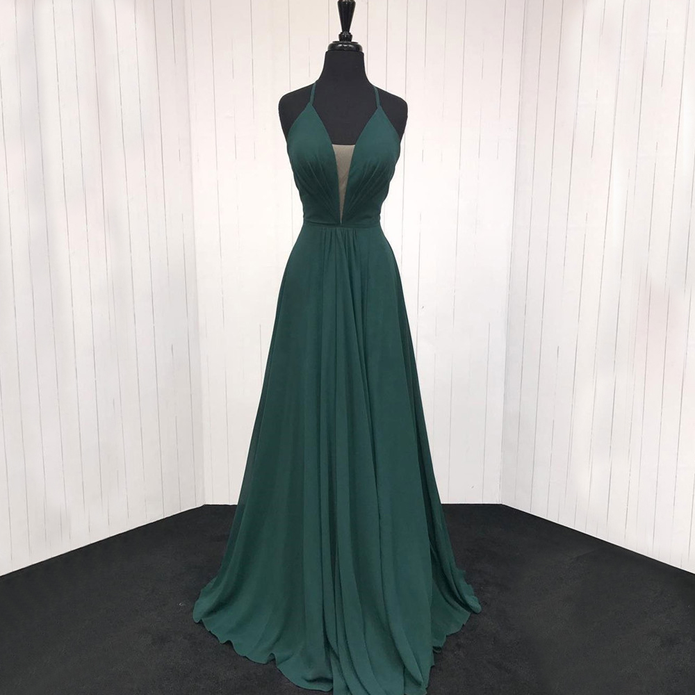 High Quality Dark Green Chiffon   Bridesmaid     Dresses   Halter Backless A Line Long Sexy Women Party   Dress   Cheap Maid Of Honor Gowns