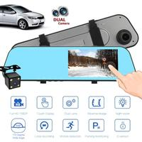 5in Touch Screen Car DVR Dash Camera Dual Lens Car Rearview Mirror DVR Camera Driving Video Recorder Motion Detection G sensor