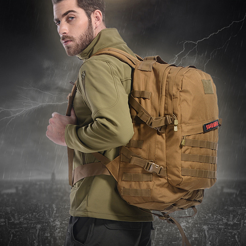 3D Army Fans Tactics Sport Bags 600D Encrypted Nylon Outdoor Sport Bags Backpack Waterproof Assault Travel Military Rucksack 45L baigio men backpack military molle assault backpack 3 way modular attachments 50l waterproof bag rucksack male travel bags