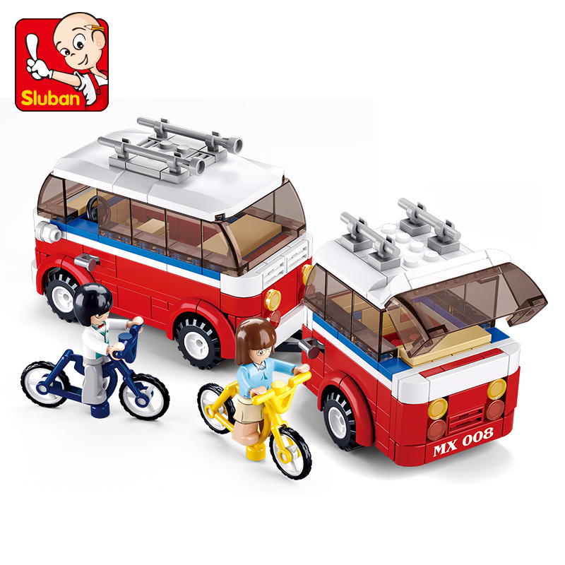 324Pcs Sluban 0566 Motorhomes SimCity My Building Blocks Bricks Toys Forge Mini World minis Kids Toys Free Shipping image