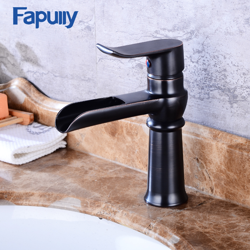 Fapully Black Basin Faucets Waterfall Faucet Bathroom Vanity Single Handle Bathroom Tap Sink Faucet Torneira fapully waterfall faucet oil rubbed bronze single handle basin faucet bathroom vanity sink mixer tap