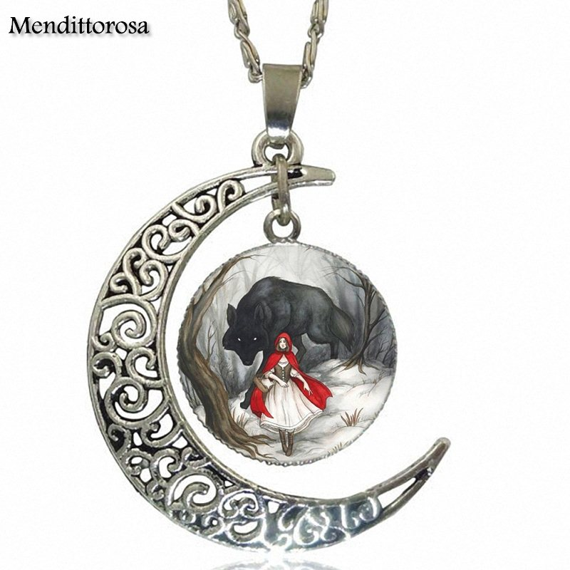 Vintage Jewelry Silver Color Glass Cabochon Choker Crescent Moon Pendant Long Necklace For Unisex Gift Little Red Riding Hood