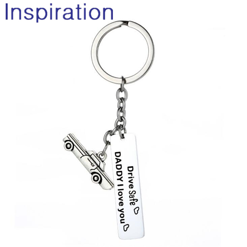 Driver Stainless Steel Keychain 10*40 mm Drive Safe DADDY I love you Car Key Holder Key Rings Best Key Chain for Dad Father image
