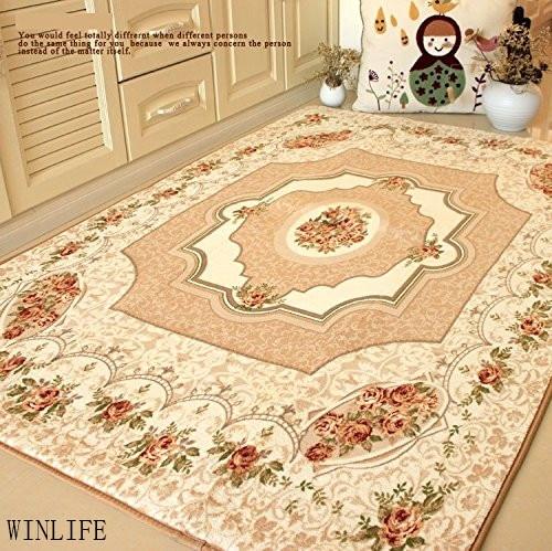 WINLIFE tapis de chambre rustique européen Roses méditerranéennes tapis de chambre moderne grands tapis Beige - 4