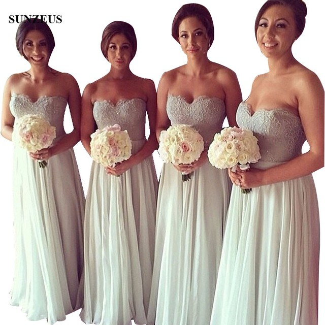 A-line Sweetheart Strapless Bridesmaids Dresses For Wedding Sequined Lace Corset Long Chiffon Party Gowns Vestido Largo BDS017
