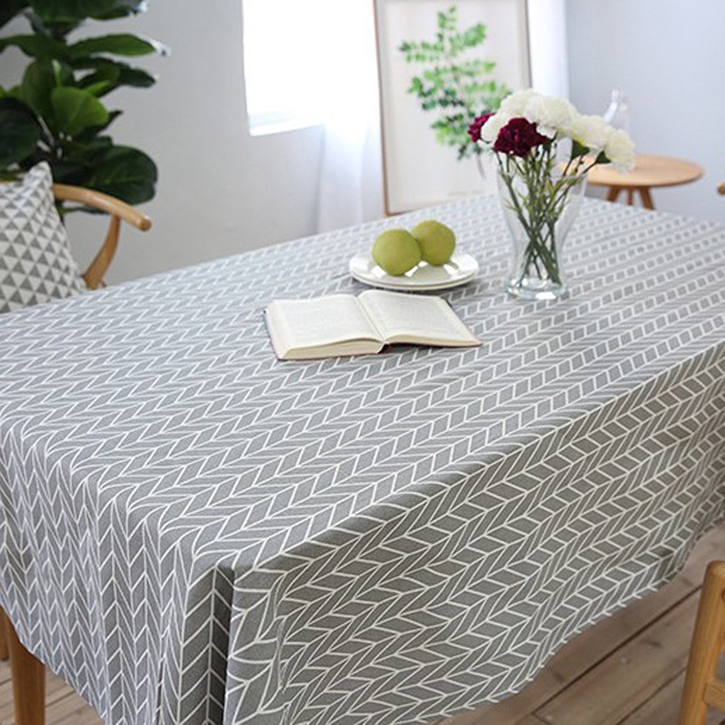 Dining Room Table Linens: Arrow Plaid Vintage Rectangle Tablecloth Cotton Linen